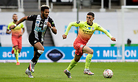 Manchester City's Phil Foden gets away from Newcastle United's Joelinton<br /> <br /> Photographer Alex Dodd/CameraSport<br /> <br /> FA Cup Quarter-Final - Newcastle United v Manchester City - Sunday 28th June 2020 - St James' Park - Newcastle<br />  <br /> World Copyright © 2020 CameraSport. All rights reserved. 43 Linden Ave. Countesthorpe. Leicester. England. LE8 5PG - Tel: +44 (0) 116 277 4147 - admin@camerasport.com - www.camerasport.com