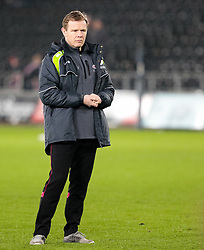 Saracens' Head Coach Mark McCall during the pre match warm up<br /> <br /> Photographer Simon King/Replay Images<br /> <br /> European Rugby Champions Cup Round 5 - Ospreys v Saracens - Saturday 13th January 2018 - Liberty Stadium - Swansea<br /> <br /> World Copyright © Replay Images . All rights reserved. info@replayimages.co.uk - http://replayimages.co.uk