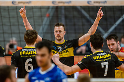 Jeroen Rauwerink of Dynamo celebrate during the second final league match between Amysoft Lycurgus vs. Draisma Dynamo on April 24, 2021 in Groningen.