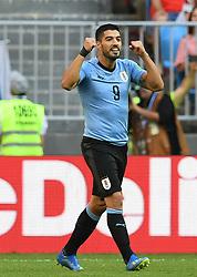SAMARA, June 25, 2018  Luis Suarez of Uruguay celebrates scoring during the 2018 FIFA World Cup Group A match between Uruguay and Russia in Samara, Russia, June 25, 2018. (Credit Image: © Du Yu/Xinhua via ZUMA Wire)
