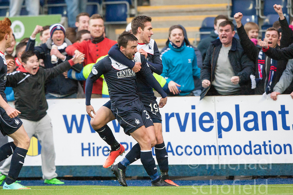 Falkirk's Mark Millar cele scoring the goal from the penalty spot.<br /> Falkirk 1 v 0 Queen of the South, Scottish Championship game today at the Falkirk Stadium.<br /> © Michael Schofield.