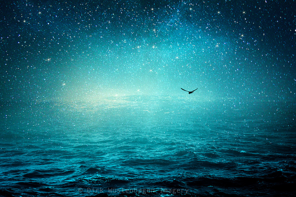Surreal seascape with a starry sky - photomanipulation/composing<br /> Prints: http://www.redbubble.com/people/dyrkwyst/works/22483059-the-sea-and-the-universe?asc=u&ref=recent-owner