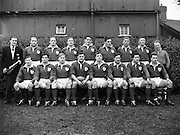 Irish Rugby Football Union, Ireland v France, Five Nations, Landsdowne Road, Dublin, Ireland, Saturday 22nd January, 1955,.22.1.1955, 1.22.1955,..Referee- Mr Ivor David, Welsh Rugby Union, ..Score- Ireland 3 - 5 France,..Irish Team, ..W R Tector, Wearing number 15 Irish jersey, Full Back, Wanderers Rugby Football Club, Dublin, Ireland, ..S J Byrne, Wearing number 14 Irish jersey, Right Wing, University College Dublin Rugby Football Club, Dublin, Ireland, ..N J Henderson, Wearing number 13 Irish jersey, Right centre, N.I.F.C, Rugby Football Club, Belfast, Northern Ireland,..A J O'Reilly, Wearing number 12 Irish jersey, Left Centre, Old Belvedere Rugby Football Club, Dublin, Ireland,  ..A C Pedlow, Wearing number 11 Irish jersey, Left wing, Queens University Rugby Football Club, Belfast, Northern Ireland,..J W Kyle, Wearing number 10 Irish jersey, Ouside Half, N.I.F.C, Rugby Football Club, Belfast, Northern Ireland,..J A O'Meara, Wearing number 9 Irish jersey, Scrum, Dolphin Rugby Football Club, Cork, Ireland, ..P J O'Donoghue, Wearing  Number 1 Irish jersey, Forward, Bective Rangers Rugby Football Club, Dublin, Ireland,..R Roe, Wearing number 2 Irish jersey, Forward, Landsdowne Rugby Football Club, Dublin, Ireland, ..F E Anderson, Wearing number 3 Irish jersey, Forward, N.I.F.C, Rugby Football Club, Belfast, Northern Ireland,..W J O'Connell, Wearing number 4 Irish jersey, Forward, Landsdowne Rugby Football Club, Dublin, Ireland,..R H Thompson, Wearing number 5 Irish jersey, Captain of the Irish Team, Forward, Instonians Rugby Football Club, Belfast, Northern Ireland,..J S McCarthy, Wearing number 6 Irish jersey, Forward, Dolphin Rugby Football Club, Cork, Ireland, ..J R Kavanagh, Wearing number 7 Irish jersey, Forward, Wanderers Rugby Football Club, Dublin, Ireland, ..M J Cunningham,  Wearing number 8 Irish jersey, Forward, University college Cork Rugby Football Club, Cork, Ireland,