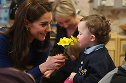 The Duchess of Cambridge during a visit to the SureStart Facility in St Joseph's Primary School in Ballymena as part of their two day visit to Northern Ireland.