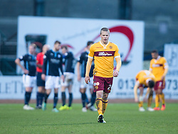 Ref Stephen Finnie red cards Motherwell's Henrik Ojamaa. <br /> half time : Dundee 3 v 1 Motherwell, SPFL Premiership played 10/1/2015 at Dundee's home ground Dens Park.