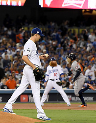 October 31, 2017 - Los Angeles, California, U.S. - Houston Astros' George Springer (4) rounds third base after hitting a solo home run off of Los Angeles Dodgers' starting pitcher Rich Hill (44) in the 3rd inning of game six of a World Series baseball game at Dodger Stadium on Tuesday, Oct. 31, 2017 in Los Angeles. (Photo by Keith Birmingham, Pasadena Star-News/SCNG) (Credit Image: © San Gabriel Valley Tribune via ZUMA Wire)