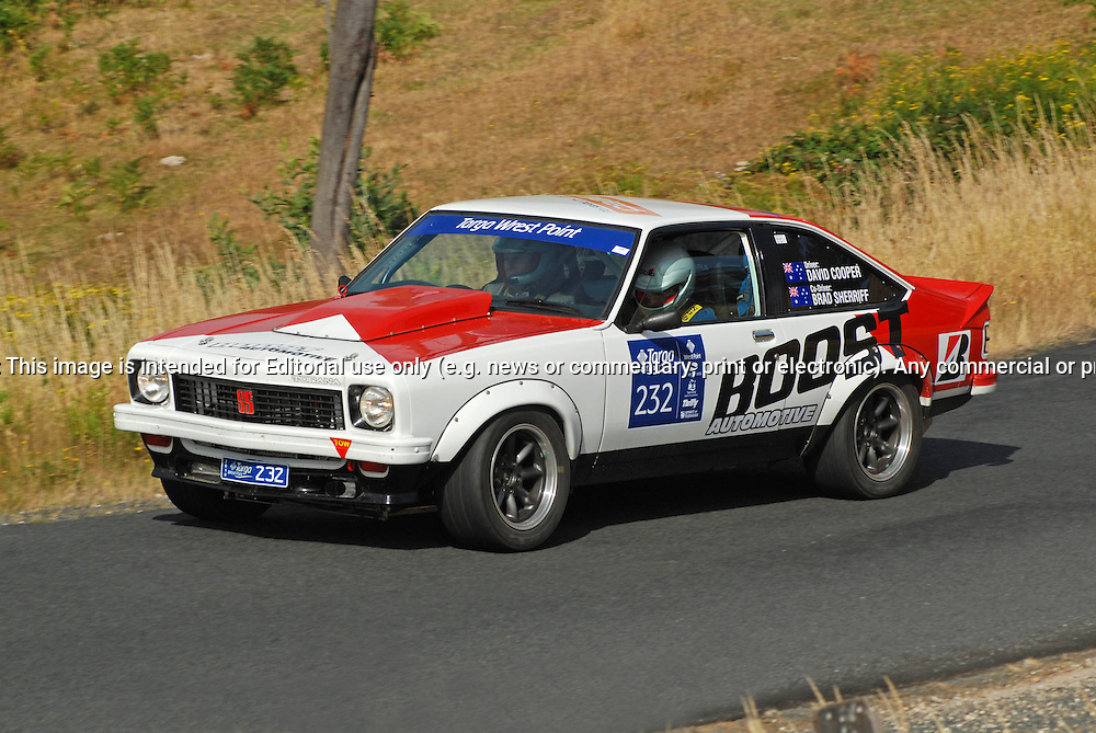 232 David Cooper & Brad Sherriff..1977 Holden Torana A9X.Day 2.Targa Wrest Point 2010.Southern Tasmania.31st of January 2010.(C) Sarah Biggin.Use information: This image is intended for Editorial use only (e.g. news or commentary, print or electronic). Any commercial or promotional use requires additional clearance.