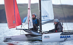 The annual RYA Youth National Championships is the UK's premier youth racing event. This year's regatta is taking place in Largs, Scotland, and will feature around 200 young sailors aged between 14 and 21. <br /> <br /> James Stacey,  Catherine Elson from Brightlingsea<br /> In the Nacra 15 Open class.<br /> <br /> Images: Marc Turner / RYA<br /> <br /> For further information contact:<br /> <br /> Richard Aspland, <br /> RYA Racing Communications Officer (on site)<br /> E: richard.aspland@rya.org.uk<br /> m: 07469 854599