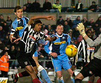 Photo: Alan Crowhurst.<br />Wycombe Wanderers v Grimsby Town. Coca Cola League 2.<br />19/11/2005. <br />Wycombe's Roger Johnson (L) heads the third goal.