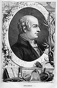 Lazzaro Spallanzani (1729-1799) Italian biologist.  He worked on bacteria (disproved spontaneous generation), digestion (first to use term gastric juice), respiration (proved tissues use oxygen and produce carbon dioxide). Pioneer of Vulcanology. From 'Vies Des Savants: Illustres du XVIIIe Siecle' by Louis Figuier. (Paris, 1874). Wood engraving.