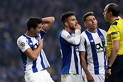 December 6, 2017 - Porto, Porto, Portugal - Porto's Spanish defender Ivan Marcano (L) reacts after the referee score a penalty during the UEFA Champions League Group G match between FC Porto and AS Monaco FC at Dragao Stadium on December 6, 2017 in Porto, Portugal. (Credit Image: © Dpi/NurPhoto via ZUMA Press)