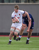 England's Rob Farrar in action during todays match<br /> <br /> Photographer Bob Bradford/CameraSport<br /> <br /> The 2018 U18 6 Nations Festival - Scotland U18 v England U18 - Saturday 31st March 2018 - CCB Centre for Sporting Excellence, Ystrad Mynach Hengoed <br /> <br /> World Copyright © 2018 CameraSport. All rights reserved. 43 Linden Ave. Countesthorpe. Leicester. England. LE8 5PG - Tel: +44 (0) 116 277 4147 - admin@camerasport.com - www.camerasport.com