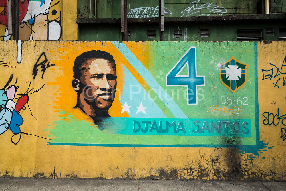 A mural close to the legendary Maracana stadium in Rio de Janeiro depicts some of Brazil's most illustrious footballing legends, such as Djalma Santos as well as other stars from the past campaigns.