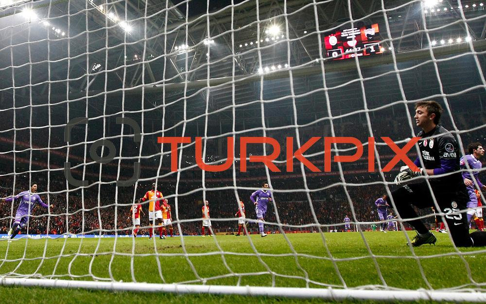 Orduspor's Bogdan Stancu scores during their Turkish Superleague soccer match Galatasaray between Orduspor at the AliSamiyen Spor Kompleksi TT arena in Istanbul Turkey on Monday 25 February 2013. Photo by Aykut AKICI/TURKPIX