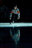 KELOWNA, BC - JANUARY 3:  Referee Mark Pearce enters the ice at the Kelowna Rockets against the Victoria Royals at Prospera Place on January 3, 2020 in Kelowna, Canada. (Photo by Marissa Baecker/Shoot the Breeze)