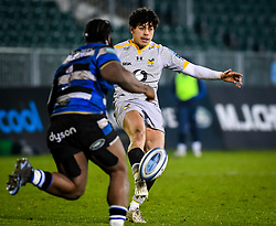 Jacob Umaga of Wasps kicks across the field for a score - Mandatory by-line: Andy Watts/JMP - 08/01/2021 - RUGBY - Recreation Ground - Bath, England - Bath Rugby v Wasps - Gallagher Premiership Rugby