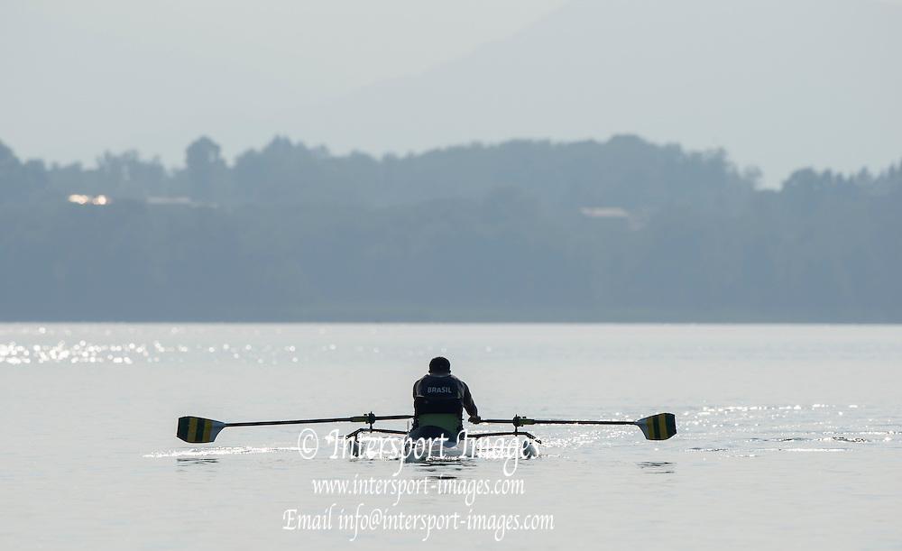 Varese. ITALY.  BRA ASM1X. PEREIRA, Rene, 2015 FISA World Cup II Venue Lake Varese. Thursday  18/06/2015 [Mandatory Credit: Peter Spurrier/Intersport images]