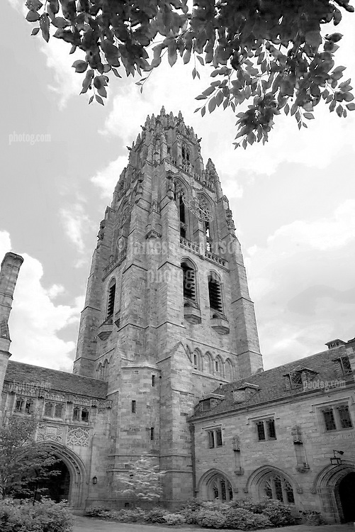 Yale University Campus, Harkness Tower on the Branford College Quad in Early Spring. Perspective Correction producing Squat Effect along with Infrared Filter. Photo Credit: James R Anderson
