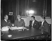 19/01/1960.01/19/1960.19 January 1960.American businessmen visit Minister Jack Lynch..Minister for Industry and Commerce Jack Lynch with Cyril Magnin, President of Joseph Magnin Inc San Fransisco, one of California's leading businessmen, W.H. Walsh, General Manager C.T.T and Joseph Weiner, President of Weiner and Gossage Inc., San Fransisco at the Department of Industry and Commerce.