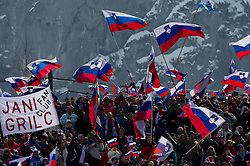 Supporters of Slovenia during the Flying Hill Team Event at 3rd day of FIS Ski Jumping World Cup Finals Planica 2013, on March 23, 2013, in Planica, Slovenia. (Photo by Vid Ponikvar / Sportida.com)