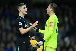 3rd December 2017 - Premier League - Manchester City v West Ham United - Declan Rice of West Ham talks to teammate West Ham goalkeeper Adrian - Photo: Simon Stacpoole / Offside.