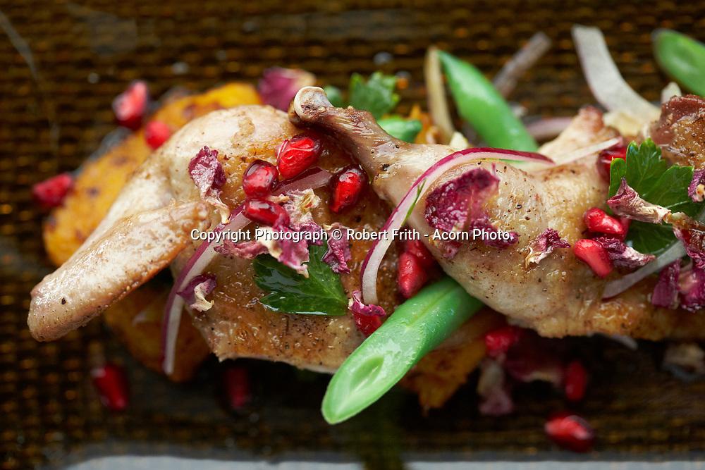 Cinnamon, rose quail, wood roasted pumpkin, beans and pomegranate<br /> Pata Negra Restaurant Perth Region