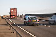 Traffic on A14 crossing Orwell Bridge, near Ipswich, Suffolk, England