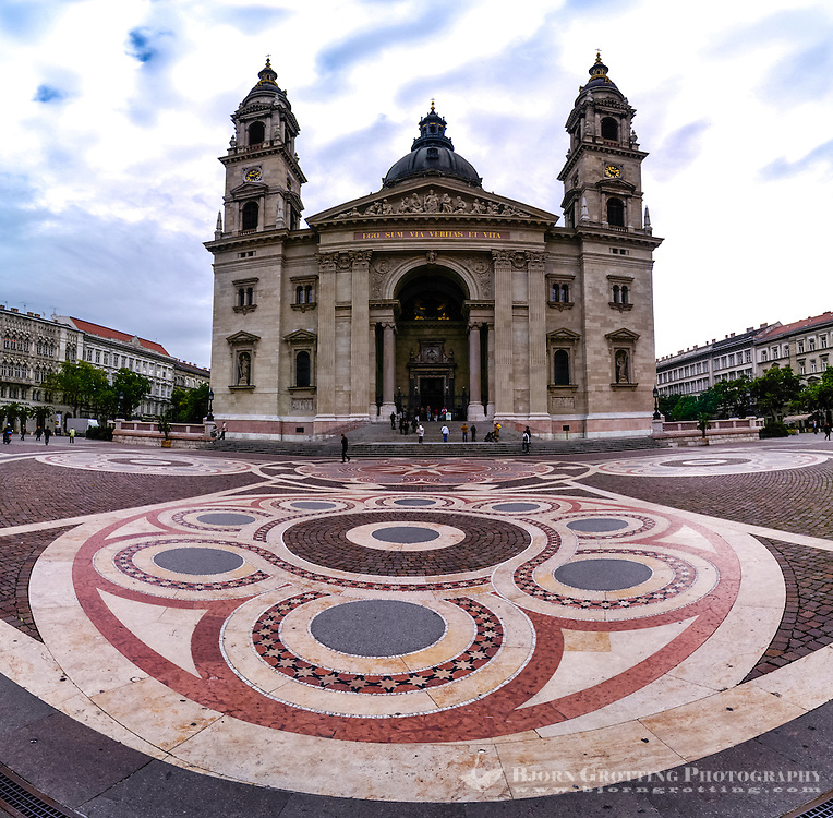 Budapest, Hungary.  Front facade of St Stephen's Basilica.