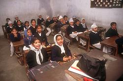 School girls and boys sitting at desks in senior secondary modern school; Punjabi University; Patiala; Punjab; India,