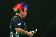 Peter Wright during the Unibet Premier League Play-Offs at the Ricoh Arena, Coventry, England on 15 October 2020.