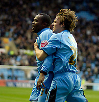 Photo: Ed Godden.<br />Coventry City v Derby County. Coca Cola Championship. 11/11/2006. Coventry's Stern John celebrates scoring to make it 1-1. Also pictured (R) is team mate Jay Tabb.