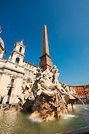 Piazza Navona Fountain of the Four Rivers (Fontana dei Quattro Fiumi), Rome, Italy