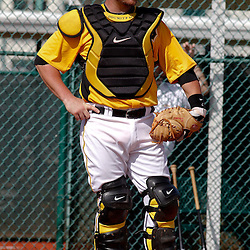 February 21, 2011; Bradenton, FL, USA; Pittsburgh Pirates catcher Ryan Doumit (41) during spring training at Pirate City minor league training complex.  Mandatory Credit: Derick E. Hingle-US PRESSWIRE