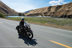 John Landstrom riding his 1928 BMW R62 during Stage 14 - (284 miles) of the Motorcycle Cannonball Cross-Country Endurance Run, which on this day ran from Meridian to Lewiston, Idaho, USA. Friday, September 19, 2014.  Photography ©2014 Michael Lichter.