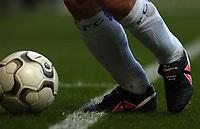 """Photo. Javier Garcia<br />22/02/2003 Chelsea v Blackburn, FA Barclaycard Premiership, Stamford Bridge<br />Gianfranco Zola's inscribed boots """"300th Chelsea Game"""""""
