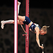 TOKYO, JAPAN:  August 5:   Anzhelika Sidorova of Russia in action during her silver medal performance in the pole vault final for women during the Track and Field competition at the Olympic Stadium  at the Tokyo 2020 Summer Olympic Games on August 5, 2021 in Tokyo, Japan. (Photo by Tim Clayton/Corbis via Getty Images)