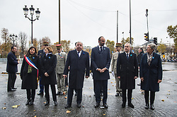The Mayor Of Paris Anne Hidalgo, French French defense Minister Florence Early, French Senate President Gerard Larcher, French Prime Minister Edouard Philippe, National Assembly President Francois de Rugy in Paris on November 11, 2017 during the Armistice Day commemorations marking the end of WWI. Photo by<br /> ELIOT BLONDET/ABACAPRESS.COM