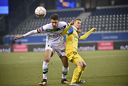 February 17, 2018 - Leuven, BELGIUM - OHL's Samy Kheli and Beerschot's Tom Pietermaat fight for the ball during a soccer game between OH Leuven and KFCO Beerschot Wilrijk, in Heverlee, Leuven, Saturday 17 February 2018, on day 27 of the division 1B Proximus League competition of the Belgian soccer championship. BELGA PHOTO BRUNO FAHY (Credit Image: © Bruno Fahy/Belga via ZUMA Press)