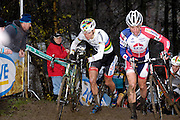 Belgium, Sunday 13th December 2015: World Champion Mathieu van der Poel (on left) reaches the top of a short but steep and muddy climb during the first lap of the elite men's  Hansgrohe Superprestige cyclocross races at Spa Francorchamps.<br /> <br /> Copyright 2015 Peter Horrell