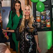 Amel Rachedi,Hayley Palmer a TV Presenter arrive the Macmillan - charity gala summer party at Pizza Express Dean Street on 8 August 2018, London, UK.