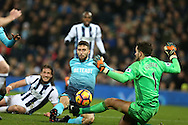 Borja Baston of Swansea city is denied a goal by a save from West Brom goalkeeper Ben Foster. Premier league match, West Bromwich Albion v Swansea city at the Hawthorns stadium in West Bromwich, Midlands on Wednesday 14th December 2016. pic by Andrew Orchard, Andrew Orchard sports photography.