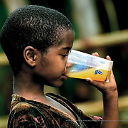The children's immature immune systems mean that they are easy victims to diseases such as amebiasis or giardiasis, which are caused by intestinal parasites found in the contaminated water they drink and wash themselves with.  Gurage, Ethiopia.