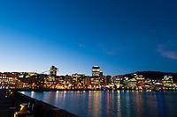 Twilight view into the harbor of Wellington, New Zealand