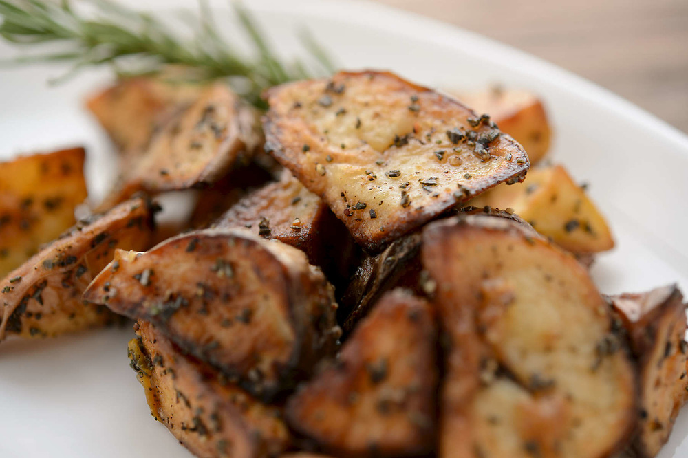 Photograph of a side dish of Roasted Potatoes