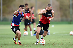 Aaron Wilbraham of Bristol City battles for the ball with Callum O'Dowda of Bristol City  - Mandatory by-line: Joe Meredith/JMP - 19/07/2016 - FOOTBALL - Bristol City pre-season training camp, La Manga, Murcia, Spain