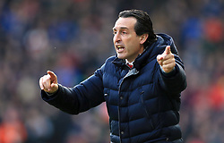 Arsenal manager Unai Emery gestures on the touchline during the Premier League match at the John Smith's Stadium, Huddersfield.