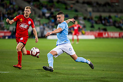 February 9, 2019 - Melbourne, VIC, U.S. - MELBOURNE, AUSTRALIA - February 09 : Jamie Maclaren of Melbourne City  kicks the ball in front of Jordan Elsey of Adelaide United during round 18 of the Hyundai A-League Series between Melbourne City and Adelaide United on February 9 2019, at AAMI Park in Melbourne, Australia. (Photo by Jason Heidrich/Icon Sportswire) (Credit Image: © Jason Heidrich/Icon SMI via ZUMA Press)