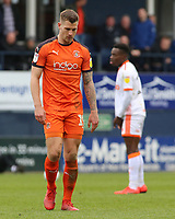 Luton Town's James Collins trudges off after being shown a red card<br /> <br /> Photographer David Shipman/CameraSport<br /> <br /> The EFL Sky Bet League One - Luton Town v Blackpool - Saturday 6th April 2019 - Kenilworth Road - Luton<br /> <br /> World Copyright © 2019 CameraSport. All rights reserved. 43 Linden Ave. Countesthorpe. Leicester. England. LE8 5PG - Tel: +44 (0) 116 277 4147 - admin@camerasport.com - www.camerasport.com