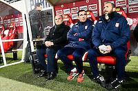 Pascal DUPRAZ / Stephane BERNARD / Jose MARTINEZ  - 13.12.2014 - Reims / Evian Thonon  - 18eme journee de Ligue1<br />Photo : Fred Porcu / Icon Sport