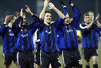 DEBRECEN (HUN)  03/03/2004<br /> FOOTBALL / VOETBAL / SPORT<br /> 1/8 FINALE UEFABEKER / 1/8 FINALE COUPE UEFA / DEBRECEN - CLUB BRUGGE / DEBRECEN - FC BRUGGE / <br /> TIMMY SIMONS - MAERTENS - DE COCK /<br /> PICTURE BY NICO VEREECKEN<br /> Digitalsport
